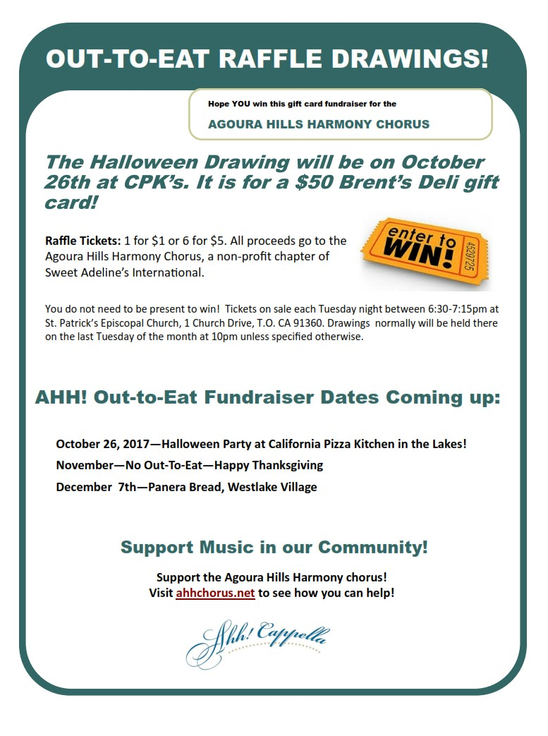 Out-To-Eat Raffle Drawing at CPK\'s Oct, 26 - Pre-Halloween Party ...